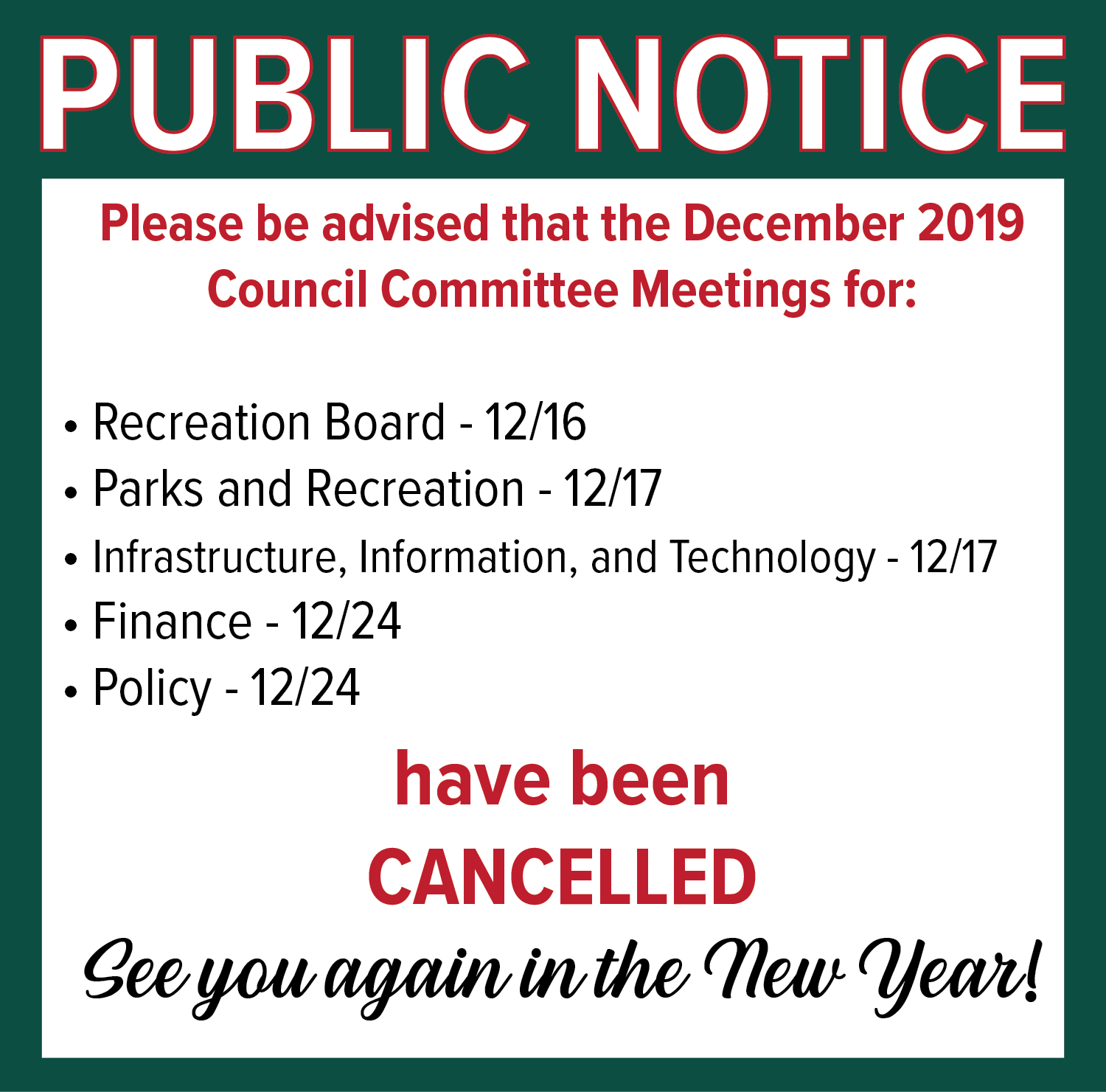 December 2019 Meeting Cancel