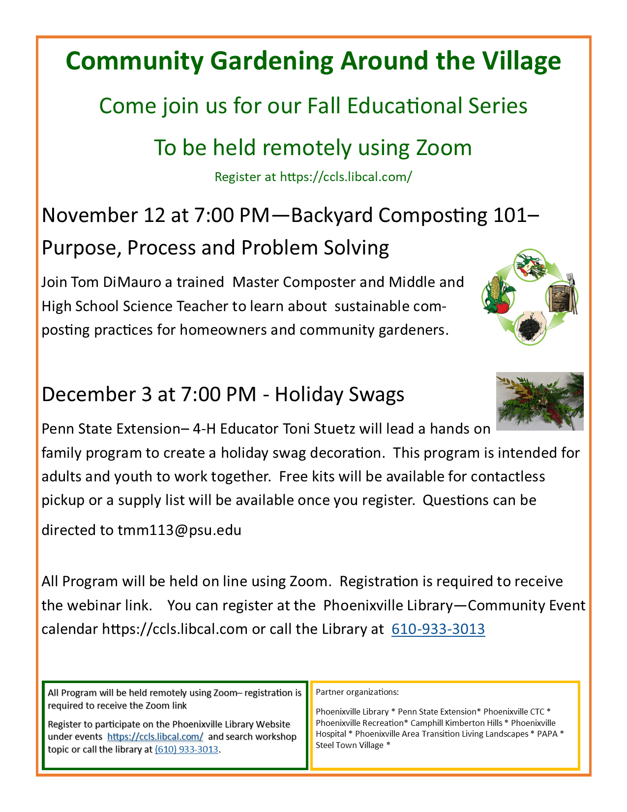 Flyer November and December  Gardening Zooms