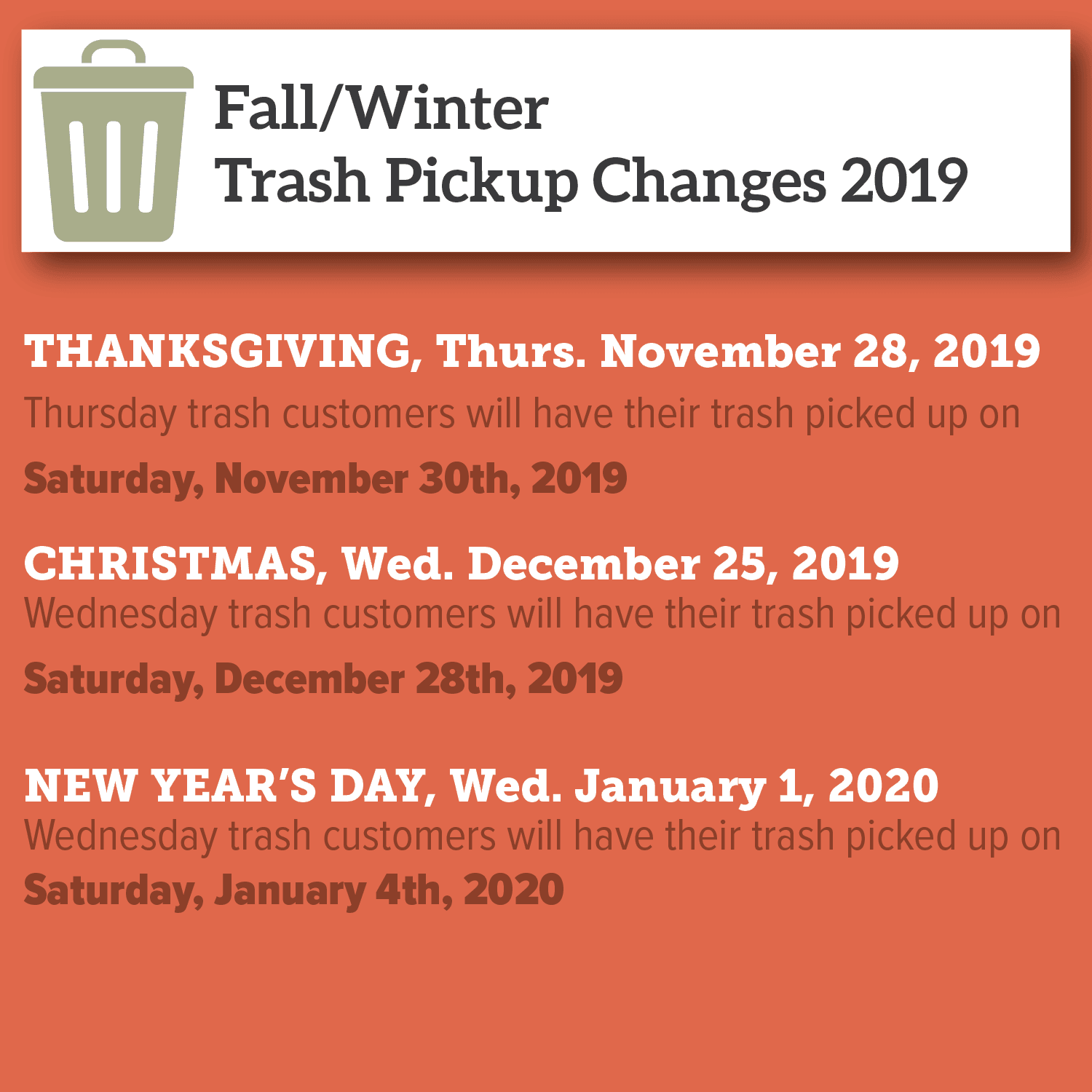 2019 winter holiday trash pickup