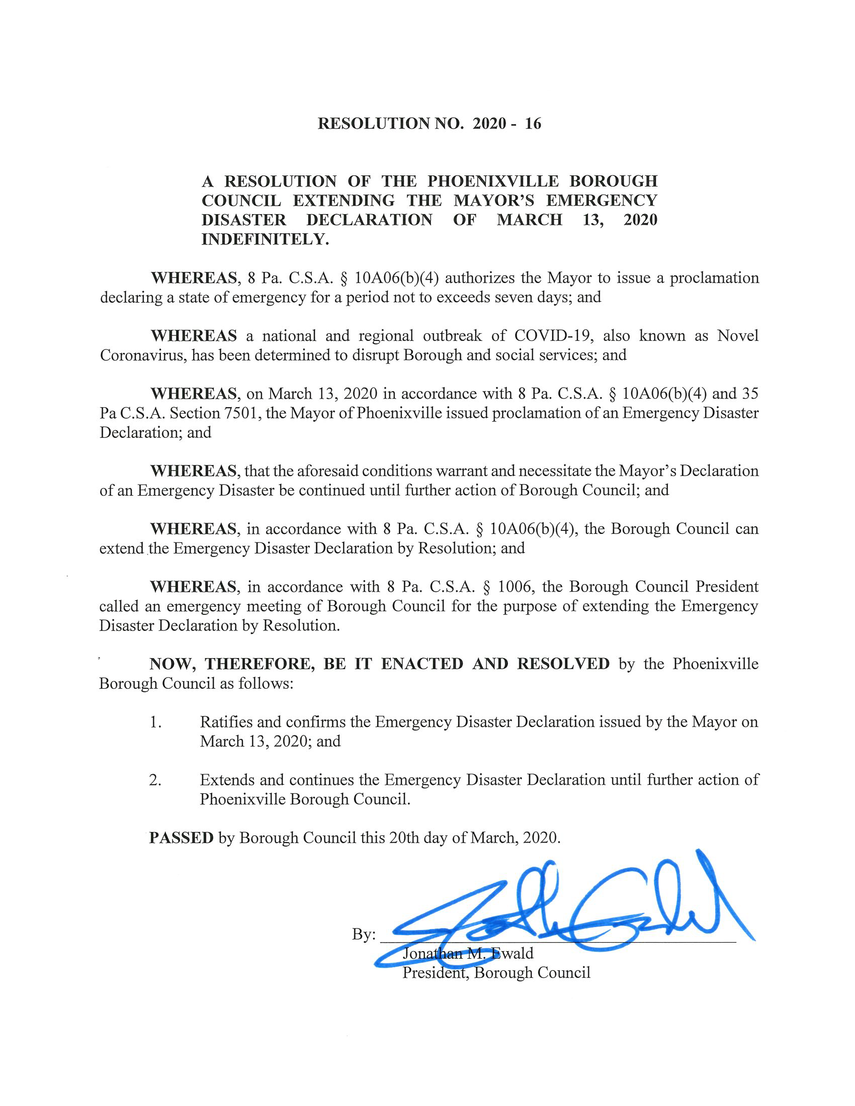 Council Resolution 2020-16 - Emergency Disaster Declaration_Page_1